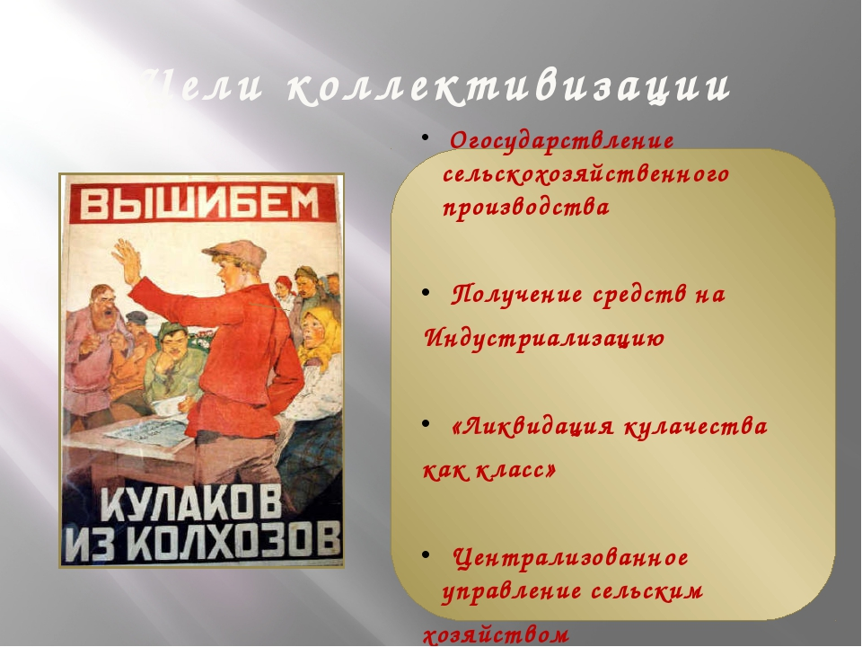 Цели коллективизации Огосударствление сельскохозяйственного производства Полу...