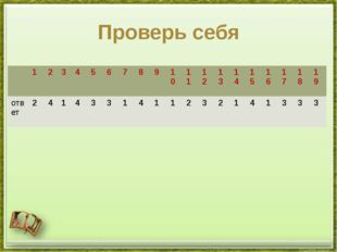 Проверь себя 1 2 3 4 5 6 7 8 9 10 11 12 13 14 15 16 17 18 19 ответ 2 4 1 4 3