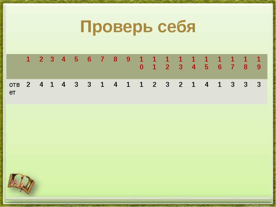 Проверь себя 1 2 3 4 5 6 7 8 9 10 11 12 13 14 15 16 17 18 19 ответ 2 4 1 4 3...