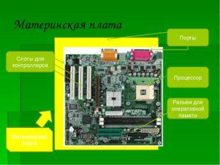 Материнская плата Порты Слоты для контроллеров Разъем для оперативной памяти