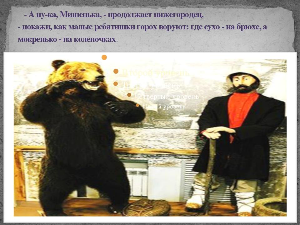 - А ну-ка, Мишенька, - продолжает нижегородец, - покажи, как малые ребят...