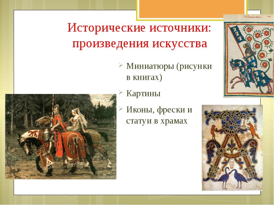 Исторические источники: произведения искусства Миниатюры (рисунки в книгах) К...