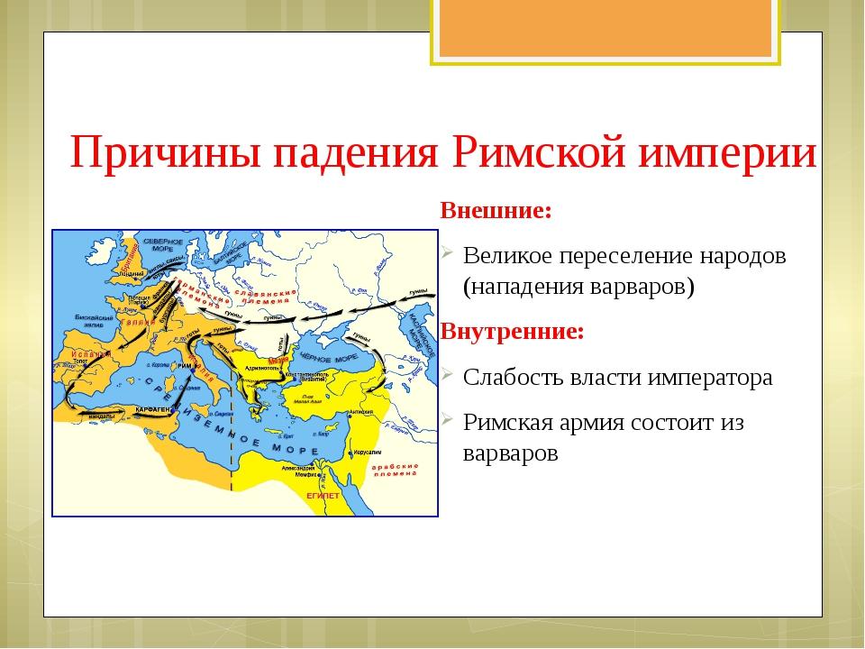 Причины падения Римской империи Внешние: Великое переселение народов (нападен...
