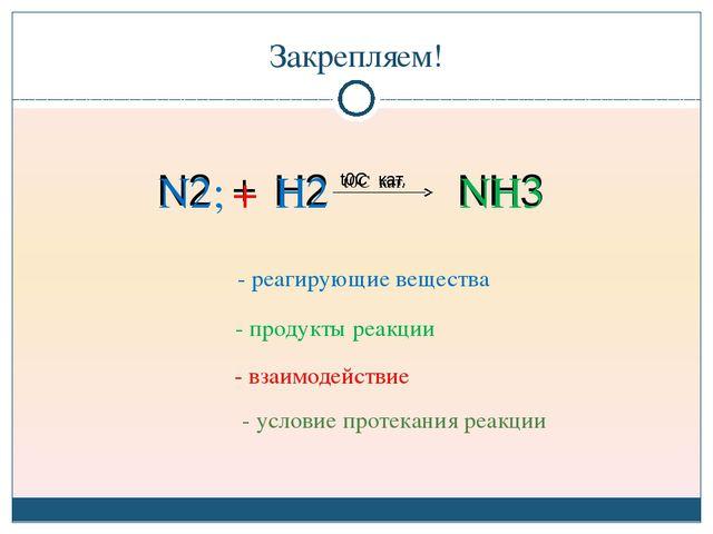 Закрепляем! N2; + H2 NH3 t0C кат. - реагирующие вещества - продукты реакции -...