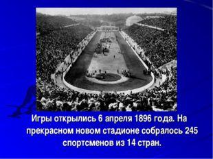 Игры открылись 6 апреля 1896 года. На прекрасном новом стадионе собралось 24