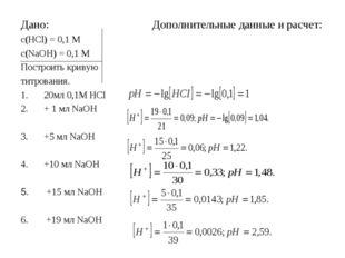 Дано: Дополнительные данные и расчет: с(HCl) = 0,1 М с(NaOH) = 0,1 M Построит