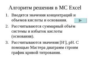 Алгоритм решения в MC Excel Вводятся значения концентраций и объемов кислоты
