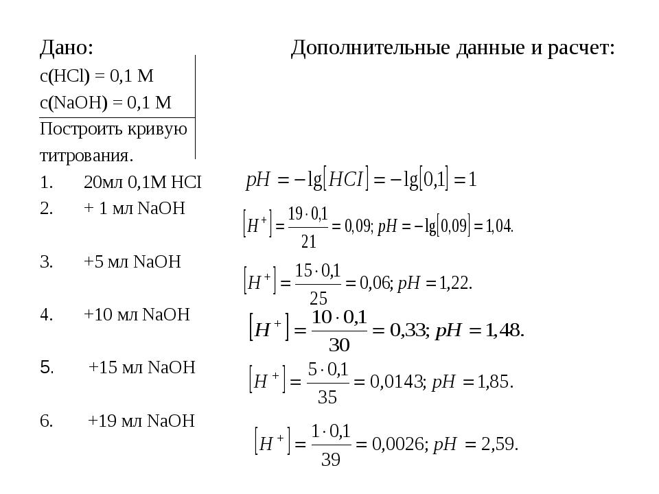 Дано: Дополнительные данные и расчет: с(HCl) = 0,1 М с(NaOH) = 0,1 M Построит...