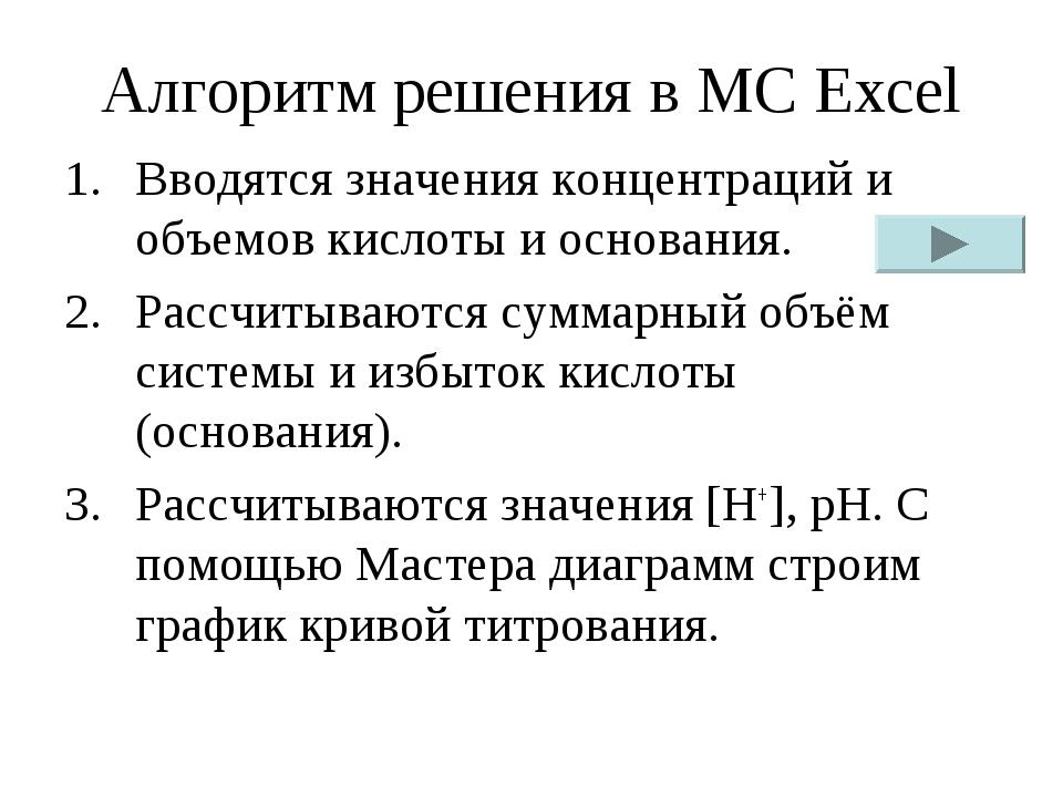 Алгоритм решения в MC Excel Вводятся значения концентраций и объемов кислоты...