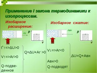 Применение I закона термодинамики к изопроцессам. Изобарное расширение: Изоба
