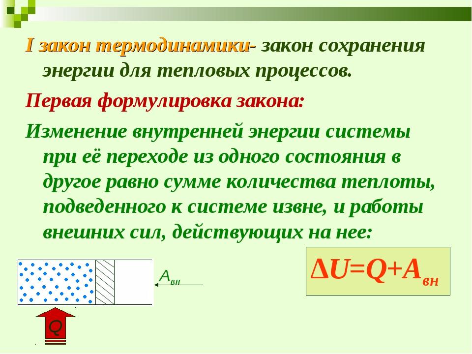 I закон термодинамики- закон сохранения энергии для тепловых процессов. Перва...