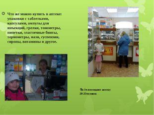 За 1ч посещают аптеку 20-25человек Что же можно купить в аптеке: упаковки с