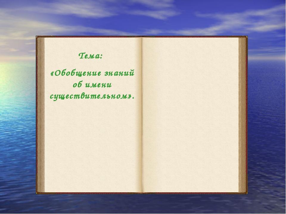 Тема: «Обобщение знаний об имени существительном».
