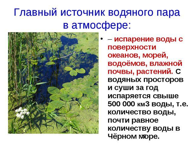 Главный источник водяного пара в атмосфере: – испарение воды с поверхности ок...