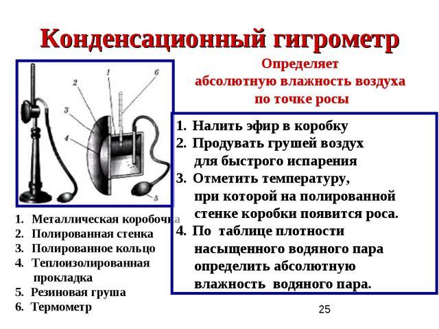 Конденсационный гигрометр Металлическая коробочка Полированная стенка Полиров...