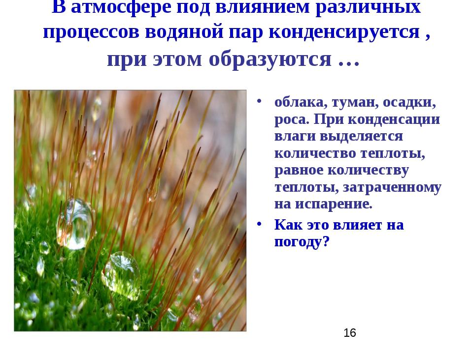 В атмосфере под влиянием различных процессов водяной пар конденсируется , при...