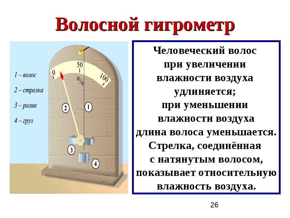Волосной гигрометр Человеческий волос при увеличении влажности воздуха удлиня...