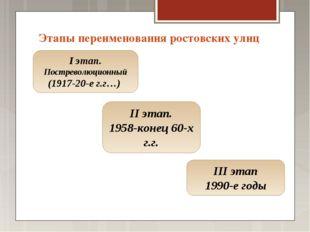 Этапы переименования ростовских улиц I этап. Постреволюционный (1917-20-е г.г