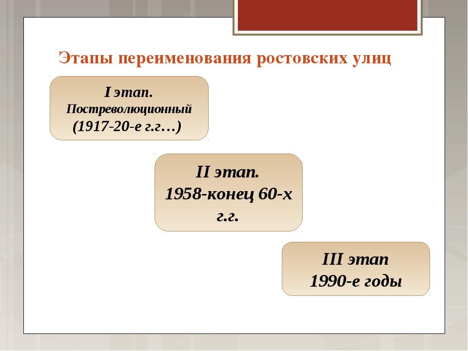 Этапы переименования ростовских улиц I этап. Постреволюционный (1917-20-е г.г...
