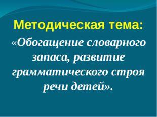 Методическая тема: «Обогащение словарного запаса, развитие грамматического ст