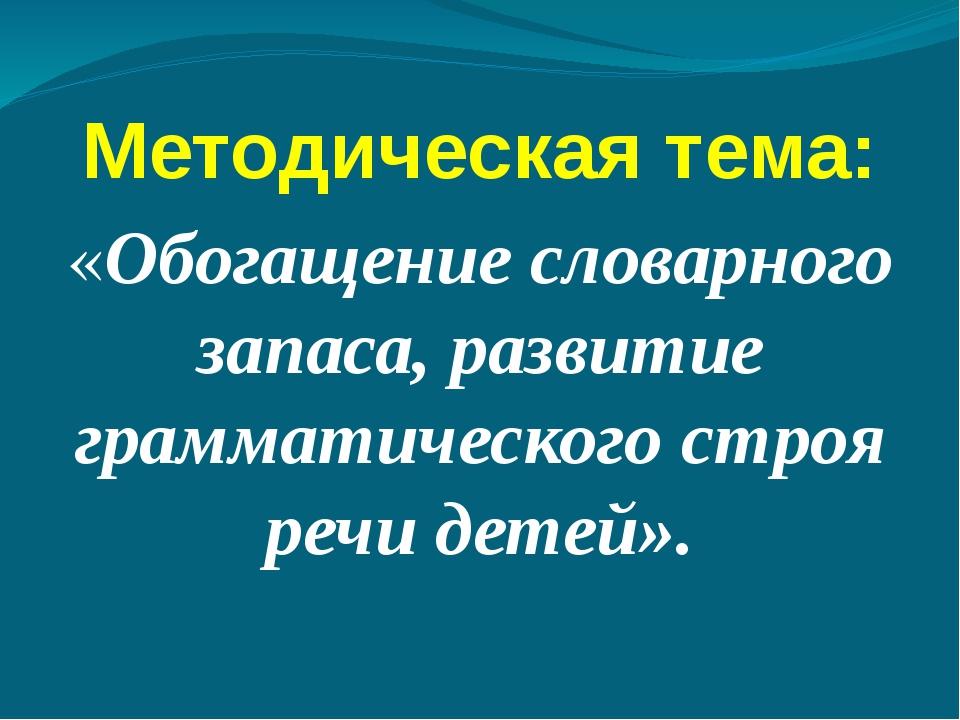 Методическая тема: «Обогащение словарного запаса, развитие грамматического ст...