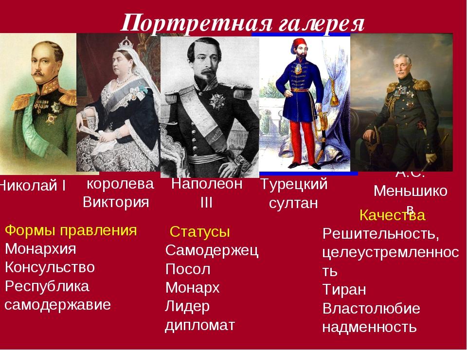 Николай I королева Виктория Качества Решительность, целеустремленность Тиран...