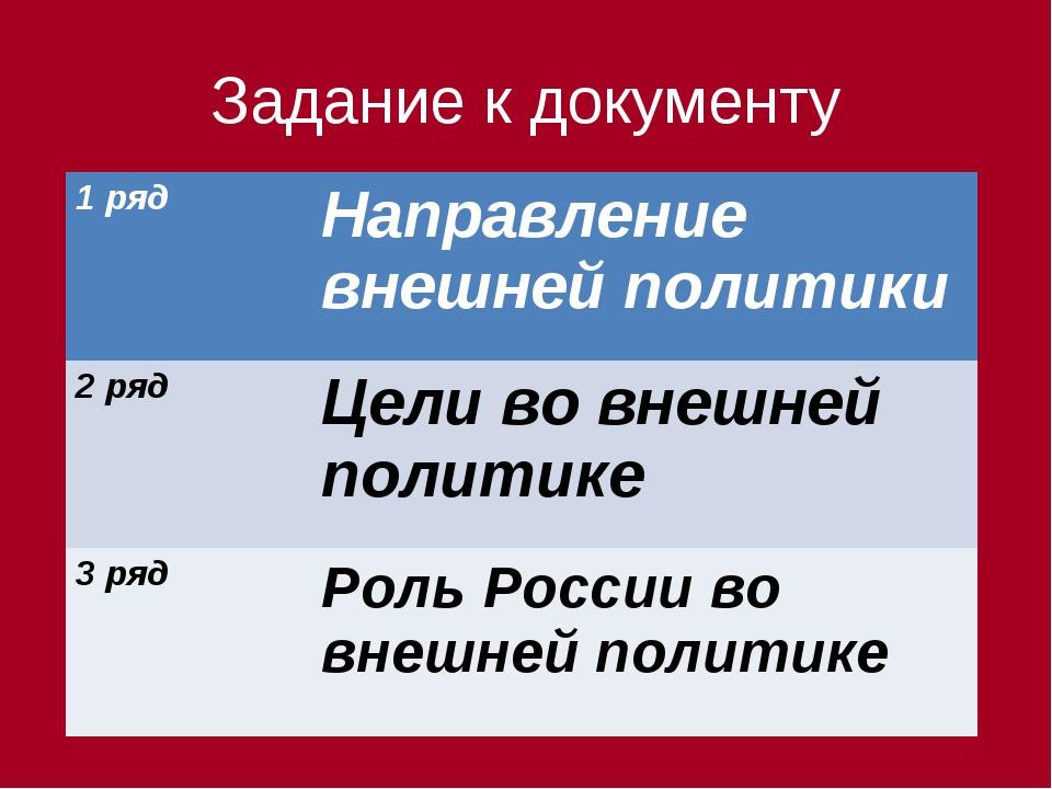 Задание к документу 1 рядНаправление внешней политики 2 рядЦели во внешней...