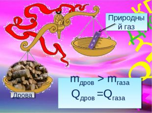 газ Природный газ Дрова mдров > mгаза Qдров =Qгаза