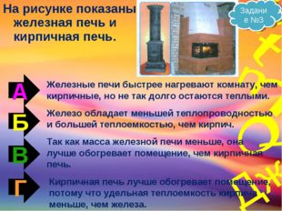 На рисунке показаны железная печь и кирпичная печь. А Б В Г Железные печи быс