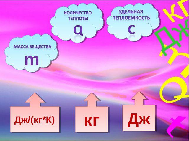 Дж кг Дж/(кг*К) m