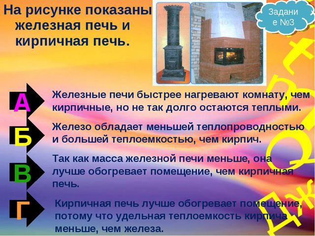 На рисунке показаны железная печь и кирпичная печь. А Б В Г Железные печи быс...