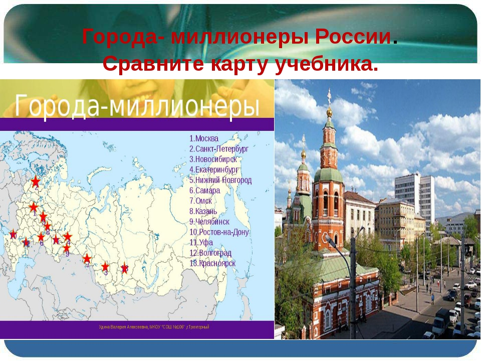 Города- миллионеры России. Сравните карту учебника.