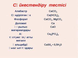 Сәйкестендіру тестісі АлебастрCaCO3 Сөндірілген әкСа(НС03)2 ФосфоритСаСО3
