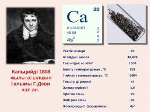 Кальцийді 1808 жылы ағылшын ғалымы Г.Дэви ашқан. Реттік номері20 Атомдық мас