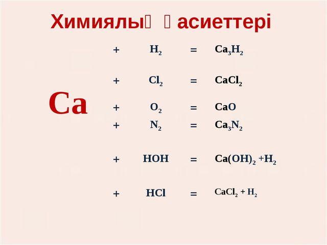 Химиялық қасиеттері Са+Н2=Са3Н2 +Сl2=СаСl2  +О2=СаО +N2=Са3N2...