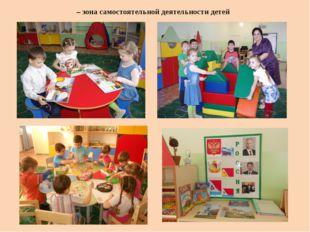 – зона самостоятельной деятельности детей