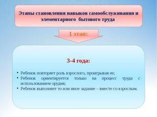 Этапы становления навыков самообслуживания и элементарного бытового труда 3-