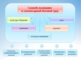 Самообслуживание и элементарный бытовой труд Социально - коммуникативное раз