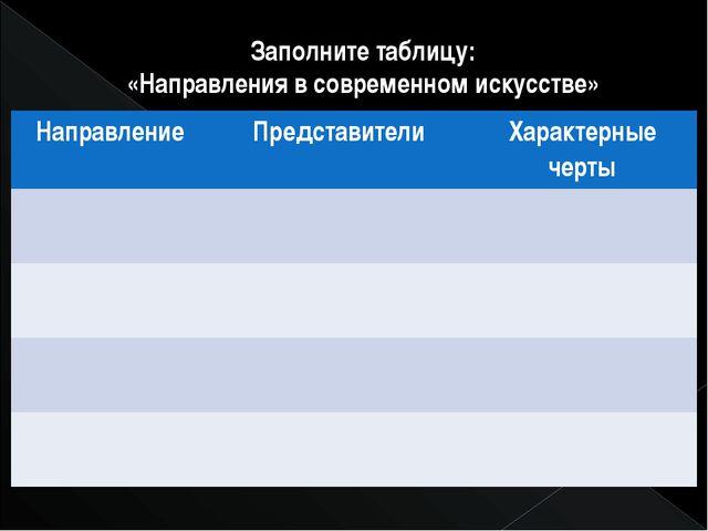 Заполните таблицу: «Направления в современном искусстве» Направление Представ...