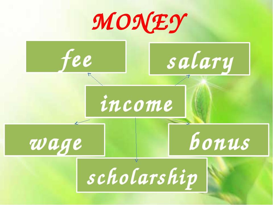 income fee salary wage bonus scholarship MONEY