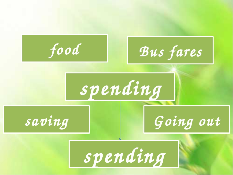 spending food Bus fares saving Going out spending