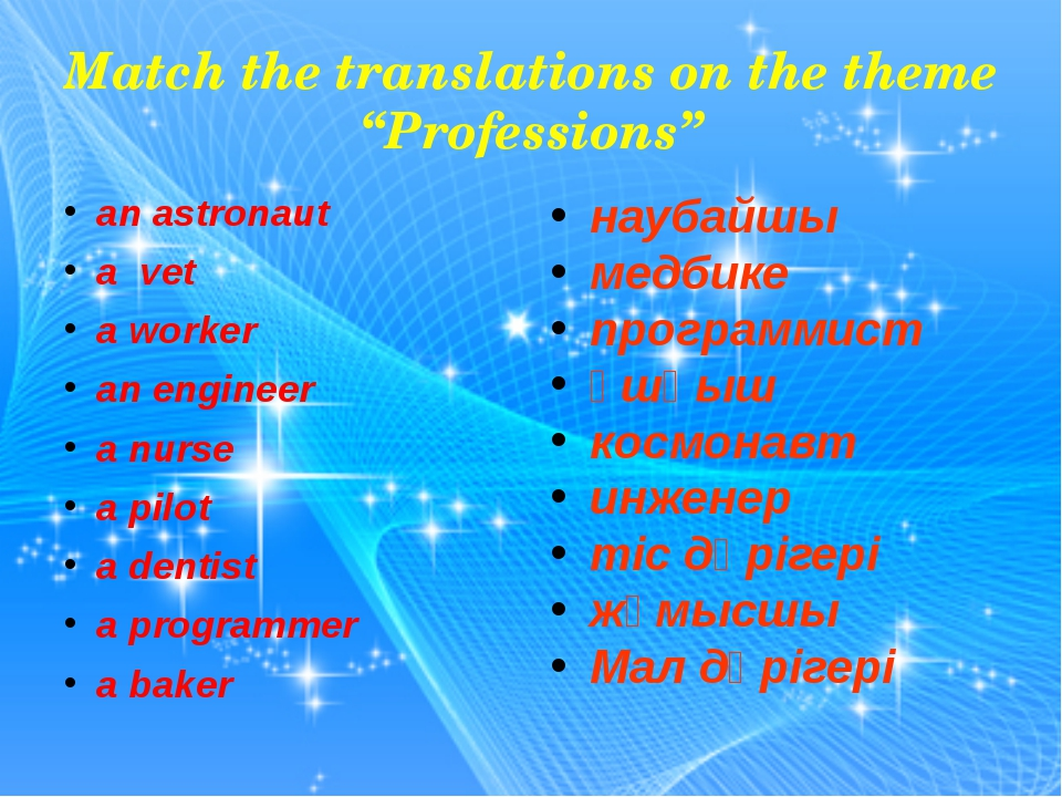 "Match the translations on the theme ""Professions"" an astronaut a vet a worker..."