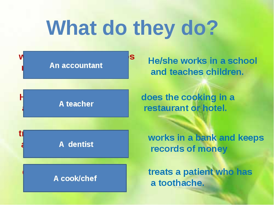 treats a patient who has a toothache. What do they do? A dentist works in a b...