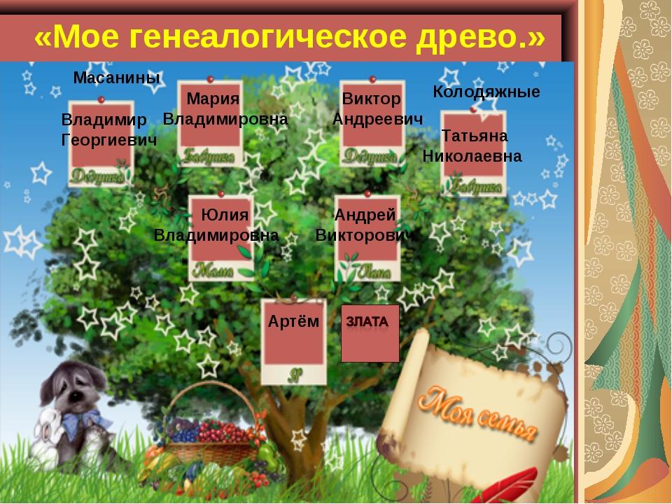 «Мое генеалогическое древо.» Артём Злата Андрей Викторович Юлия Владимировна...