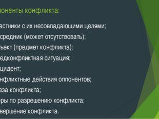 Компоненты конфликта: 1)участники с их несовпадающими целями; 2)посредник (