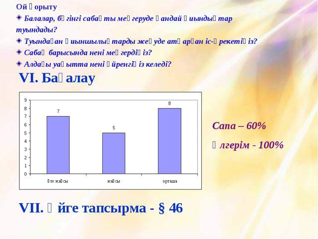 Сапа – 60% Үлгерім - 100% VІ. Бағалау VІІ. Үйге тапсырма - § 46 Ой қорыту Бал...