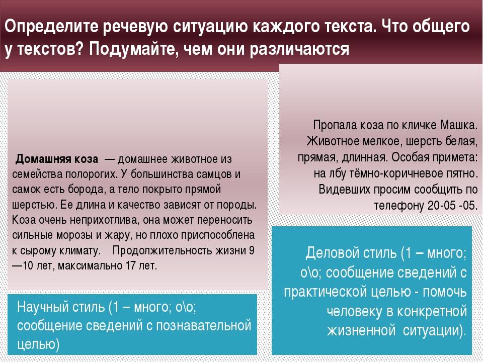 Определите речевую ситуацию каждого текста. Что общего у текстов? Подумайте,...