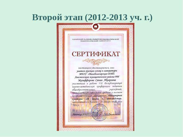 Второй этап (2012-2013 уч. г.)