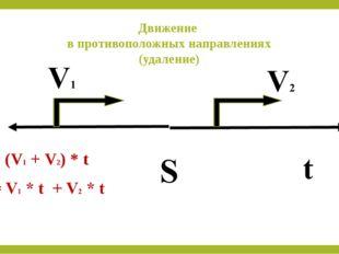 Движение в противоположных направлениях (удаление) S = (V1 + V2) * t