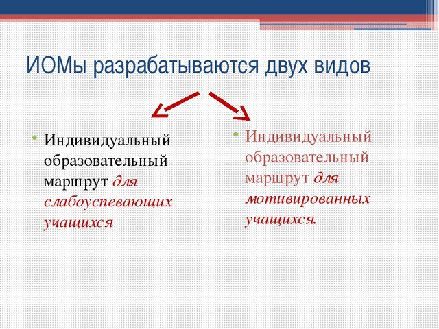 ИОМы разрабатываются двух видов Индивидуальный образовательный маршрут для сл...